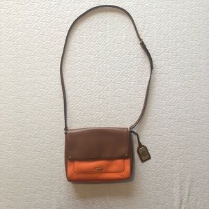 Ralph Lauren Orange & Brown Leather CrossBody Bag!